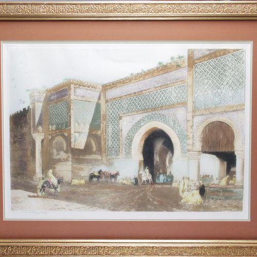 "Maurice ROMBERG DE VAUCORBEIL (1861/62 1943) ""The Bab Mansour gate in Meknes, au…"