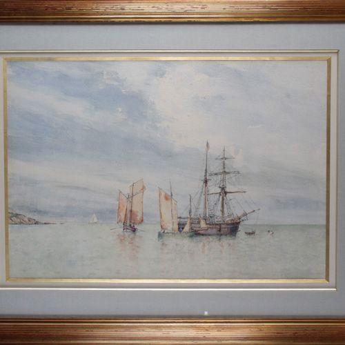 Édouard PORQUIER born in 1848. Brick on dry sail along the coast. Watercolour, s…