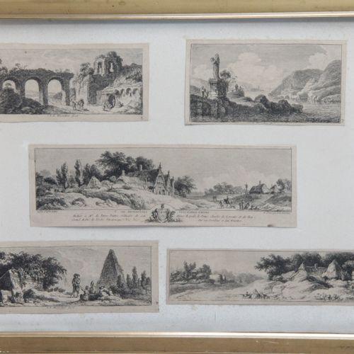 After Franz Edmund WEIROTTER (1733 1771) Suite of five vignettes, views of archi…
