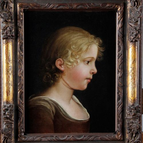 """FRENCH SCHOOL OF THE 19TH CENTURY. """"Portrait of a young girl in profile """" Oil on…"""