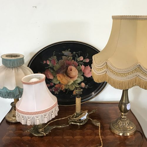 Lot of three RAT DE CAVE, a lamp stand  A painted sheet metal tray is attached