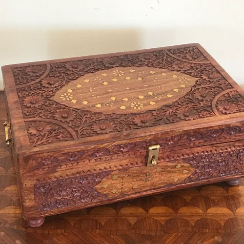 BOX  Carved wood and gilded brass inlays.  Interior lined with red velvet.  BE  …