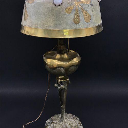 Georges LELEU (1883 1961) Georges LELEU (1883 1961)  Chestnut tree lamp  in gilt…