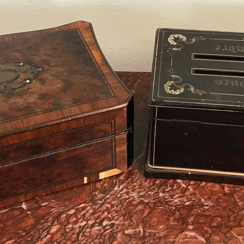 Lot of two BOXES  A burr wood veneer and inlay jewelry box.  A mail box with two…