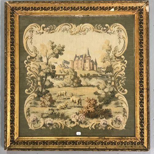 TAPISSERIE  Vue de château  Cadre en bois et stuc doré (quelques accidents)  50 …