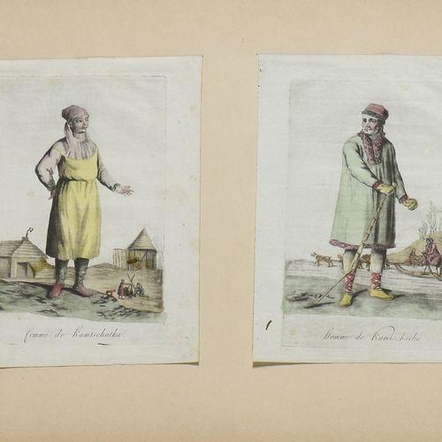 LOT DE 4 GRAVURES : 1) Un chamane de Tatares théléoutes. Gravé par E. Skotikoff.…