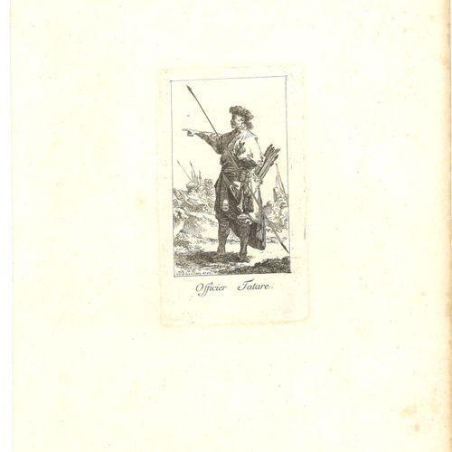 LOT DE DEUX GRAVURES : 1) Officier tatars. Gravé par Jean Baptiste Leprince, dat…