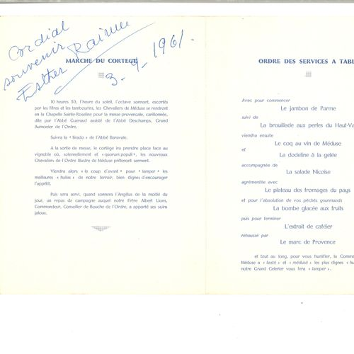 LIFAR SERGE (1905 1986) – AUTOGRAPHE  Menu du dîner de gala de l'ordre illustre …