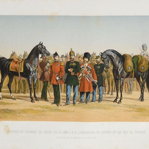 GRAVURE.  Écuyers et chevaux de selle de l'empereur de Russie et du roi de Pruss…