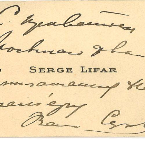 LIFAR SERGE (1905 1986) – AUTOGRAPHE  Carte de visite dédicacée en russe par Ser…