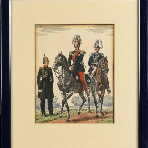 LOT DE 4 LITHOGRAPHIES SUR LE SUJET  DE L'ARMEE IMPERIALE. 25 x 20,5 cm. C.1930.…