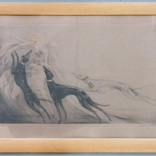 Louis ICART (1888 1950) Louis ICART (1888 1950)  Femme aux lévriers.  Lithograph…