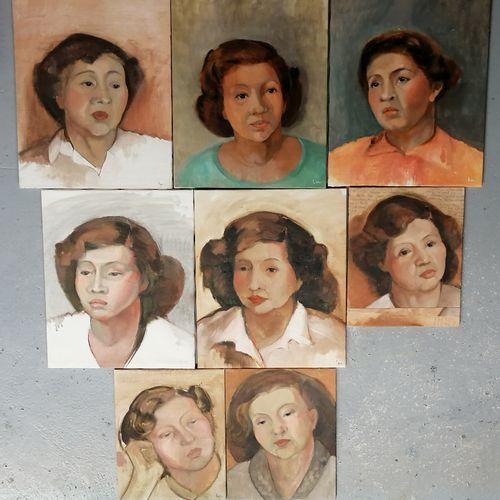 ECOLE FRANCAISE DU XXe siècle  Ensemble de huit études de femme  Huile sur toile…