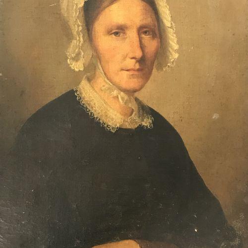 ECOLE FRANCAISE DU XVIIIe siècle  Portrait de femme  Huile sur toile rentoilée  …