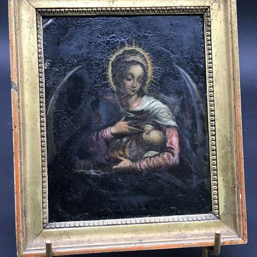 Ecole Française du XVIIe siècle  Vierge allaitant l'enfant Jésus sur un croissan…