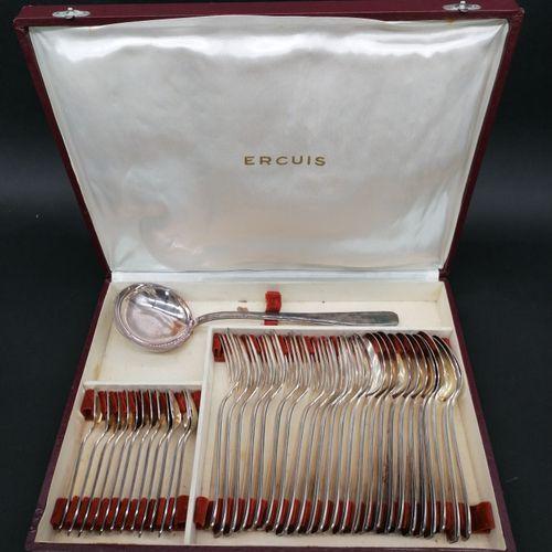 ERCUIS  Ménagère en métal argenté dans son écrin d'origine  Douze fourchettes  D…