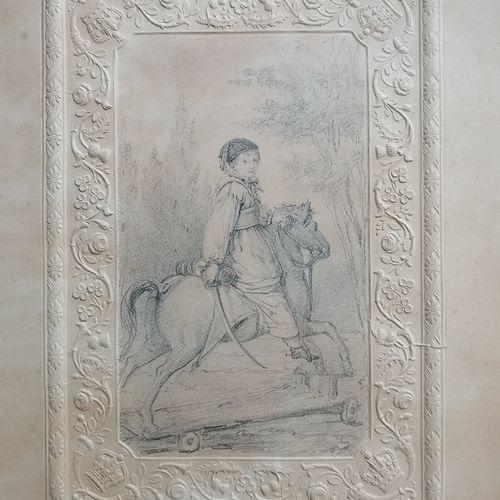 ECOLE FRANCAISE DU XIXe siècle  Dessin au crayon  Portrait de jeune garçon en te…