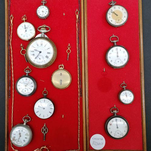 Collection de MONTRES de gousset  10 montres et un régulateur, certaines en arge…