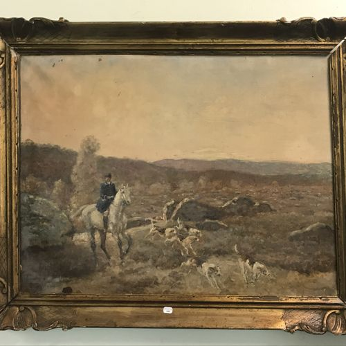 Paul TAVERNIER (1852 1943) 保罗 塔维尔尼耶(1852 1943)  用猎犬打猎  布面油画  左下方有签名  52 x 66,5 c…