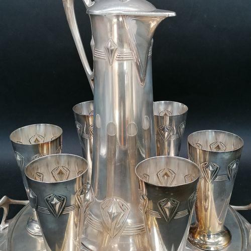 WMF (Württembergische Metallwarenfabrik)  Joli service à vin Art Nouveau en méta…