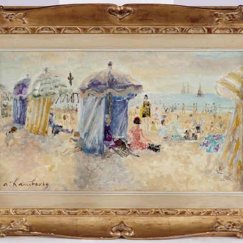 ANDRÉ HAMBOURG (1909 1999) La plage au soleil Huile sur toile Signé en bas à gau…