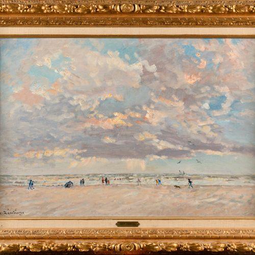 ANDRÉ HAMBOURG (1909 1999) Deauville, vent sur la plage en septembre Huile sur t…