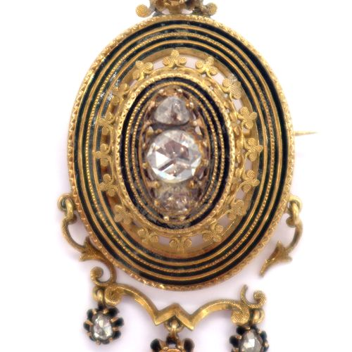 19th C. PENDANT BROCHURE in 18K yellow gold and black enamel adorned with a clov…