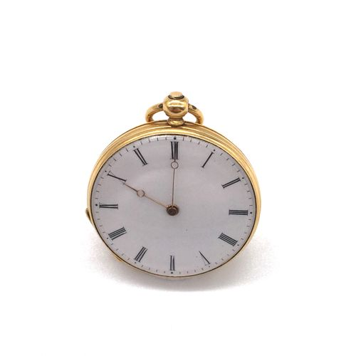 COLLAR WATCH with white dial, Roman numerals on the hour markers. The obverse, f…