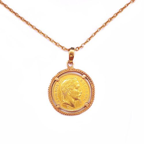 18K yellow gold PENDANT holding a coin depicting Napoleon Emperor in profile dat…