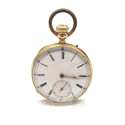 NECK WATCH white background, Roman numerals on the hour markers. French work. Gr…