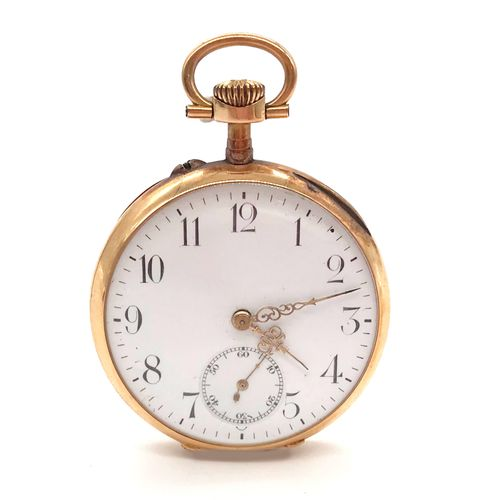 POCKET WATCH white dial, Arabic numerals. Reverse side chased with the initials …