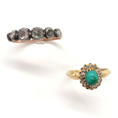 SET OF TWO RINGS the first set with a turquoise cabochon in a frame of rose cut …