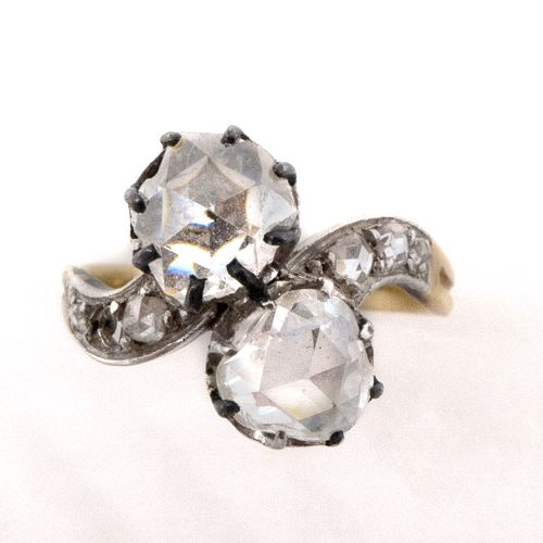 TOI AND ME RING 18th century holding two rose cut diamonds, in a setting of rose…