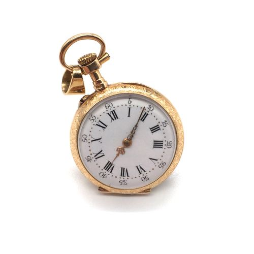 WOMEN'S NECK WATCH in 18K yellow gold. White back, Roman numeral index. Back dec…