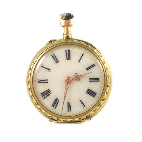 MONTRE DE GOUSSET white dial, baton hour markers. Back decorated with interlacin…