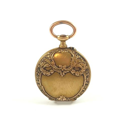 POCKET WATCH white background, Arabic numerals. Obverse side with scrolls and ve…