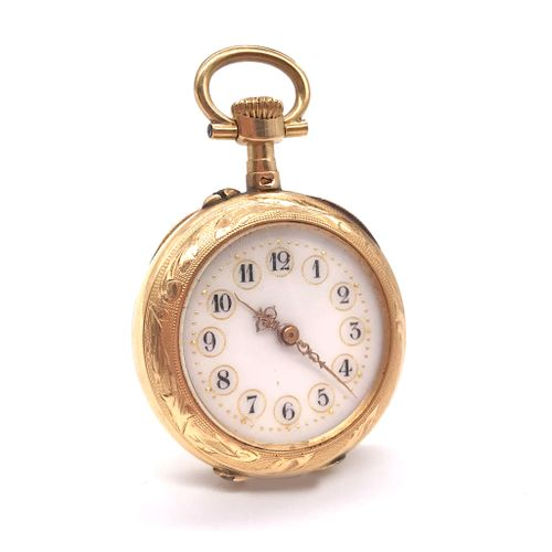 POCKET WATCH white background, Arabic numerals. The obverse is finely chased wit…
