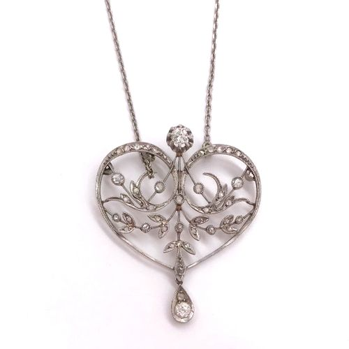 NECKLACE holding a heart decorated with scrolls, rose cut diamonds and old cut d…