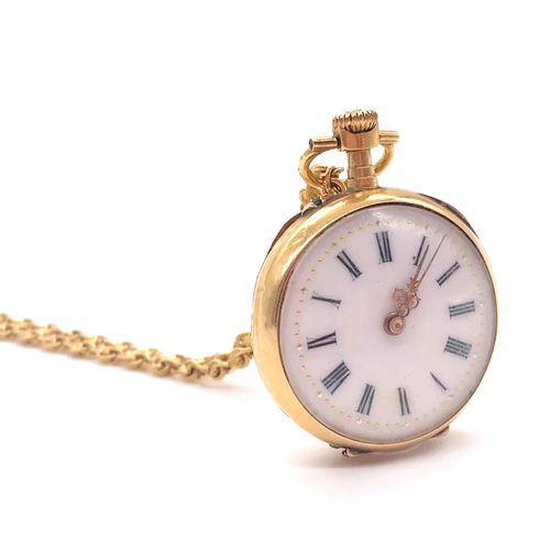 POCKET WATCH with a white dial, Roman numerals. Backside decorated with foliage.…