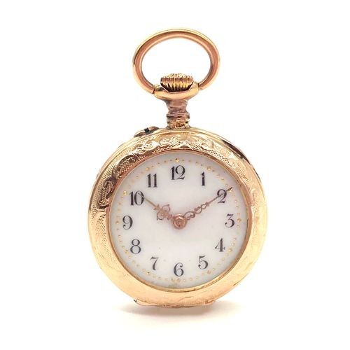 POCKET WATCH white dial with Roman numerals. Chased back with foliage decoration…