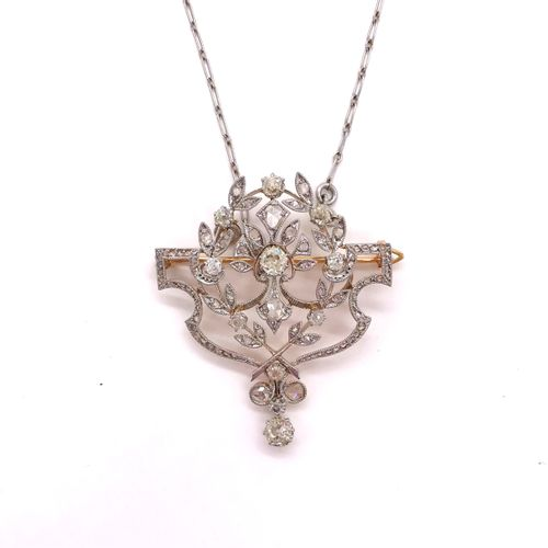 1900's NECKLACE/BROCHET with a vegetal design adorned with old cut and rose cut …
