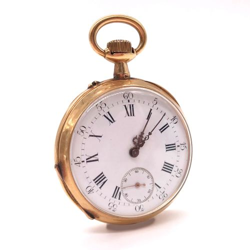 POCKET WATCH white background, Roman numerals, second hand. Reverse side with ch…