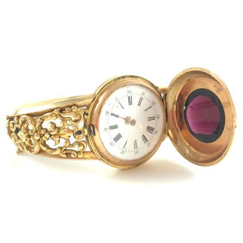 18K gold pocket watch, restored as a bracelet. Bracelet with a textured scroll d…