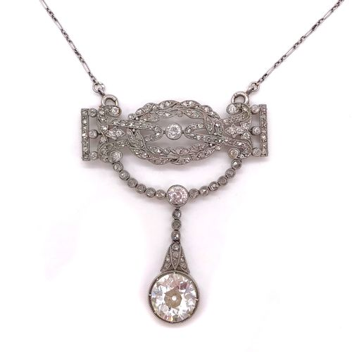 NECKLACE FROM THE 1900'S composed of a plant design set with old cut diamonds, h…