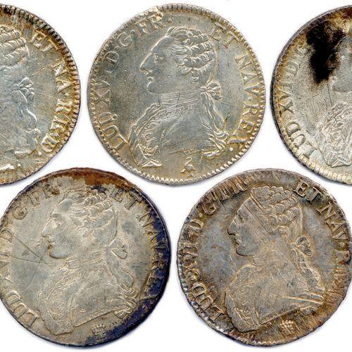LOT DE 5 MONNAIES EN ARGENT LOUIS XVI au buste habillé (146,23 g) : Écu 1778 Vaq…