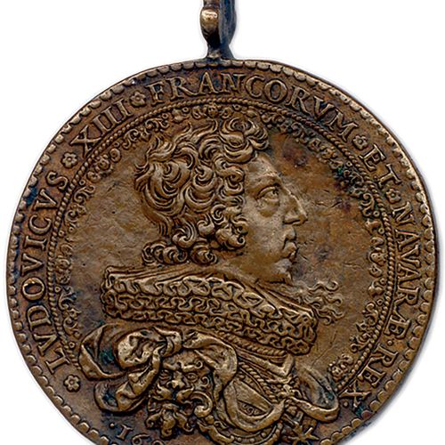 MEDAILLE EN BRONZE DE LOUIS XIII DU GRAVEUR JEAN VARIN 1629. *LVDOVICVS*XIII*FRA…