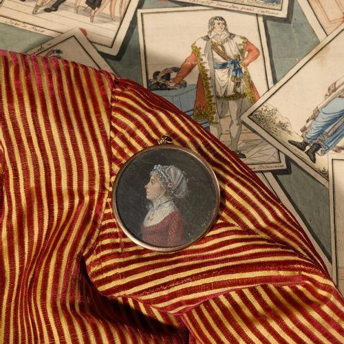 J. PIERE. ECOLE FRANÇAISE DU XVIIIE SIECLE. Portrait présumé de Charlotte Corday…