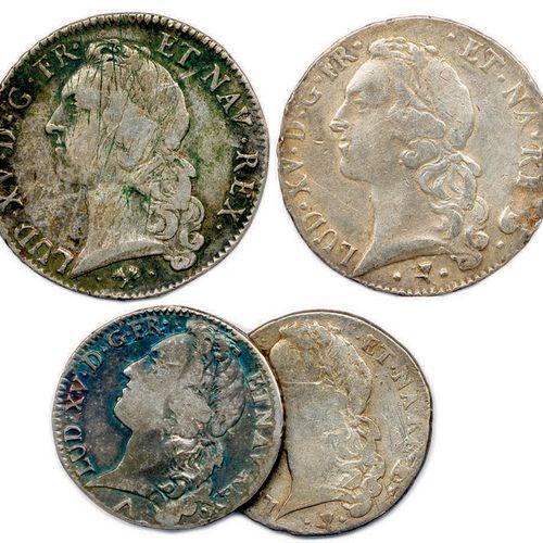 LOT DE 6 MONNAIES EN ARGENT LOUIS XV du type au bandeau (144,62 g) : Écu 1747 Va…