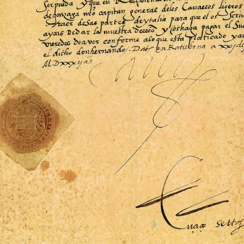 CHARLES QUINT. Pièce signée « Carolus », contresignée par son secrétaire Pedro d…
