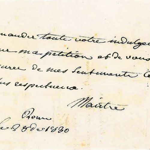 MAISTRE (XAVIER DE). Lettre autographe signée à la princesse Aldobrandini. Rome,…